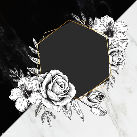 Floral frame two tones background illustration | premium image by rawpixel.com / marinemynt / ploy