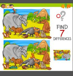 Find Differences Game With Animal Characters Group Vector Wild Animal Games Kids Vector Baby Pony