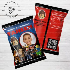 Check out our Roblox Chip Bag label for a very unique and personalized party giveaways that make any kids day awesome! #roblox #robloxtoys #robloxparty #robloxart #partyfavors #customfavors #personalizedfavors #partydecoration #robloxbirthdayparty #chipbags #chipbagwrapper #partyideas #diyparty #robloxpartyfavors #kidspartyideas #partystuff #partyinspiration #partytheme #robloxpartyideas #quarantineparty #artsyhivepartypieces #artsyhivedesign #artsyhive #smallbusiness
