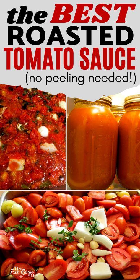 Roasted Tomato Sauce, Cherry Tomato Sauce, Roasted Tomatoes, Easy Tomato Sauce Recipe, Tomato Sauce Canning, Simple Tomato Sauce, Can Tomatoes, Recipe With Tomatoes, Recipes For Tomatoes