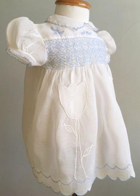 Dainty Dress Vintage Baby Dress Newborn 69 Months Baby Shower Gift Vintage Smocked Dress Handmade Smocked Dress 1960/'S Baby Dress
