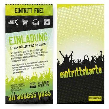 einladungskarten als #konzert ticket in grün. mit eigenem text, uv, Einladung