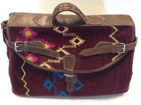 Moroccan Kilim Wool & Leather Travel Bag in Tribal by Morokko, $149.00