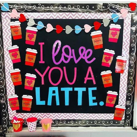 I'm slightly obsessed with all the cute bulletin boards that makes, but this valentine one I love a latte! Any bulletin… I'm slightly obsessed with all the cute bulletin boards that makes, but this valentine one I love a latte! Any bulletin… Monkey Bulletin Boards, Camping Bulletin Boards, December Bulletin Boards, Valentines Day Bulletin Board, Bulletin Board Design, Birthday Bulletin Boards, Reading Bulletin Boards, Spring Bulletin Boards, Preschool Bulletin Boards