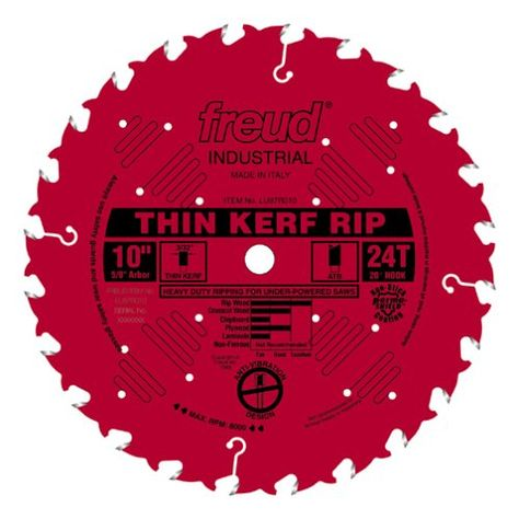 Freud Lu87r010 10 Inch 24 Tooth Ftg Thin Kerf Ripping Saw Blade With 5 8 Inch Arbor A Sliding Compound Miter Saw Circular Saw Blades Table Saw Blades