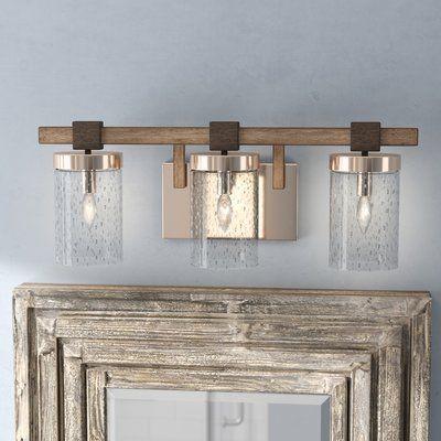 Union Rustic Lipsey 3 Light Vanity Light In 2021 Vanity Lighting Farmhouse Vanity Lights Bathroom Vanity Lighting