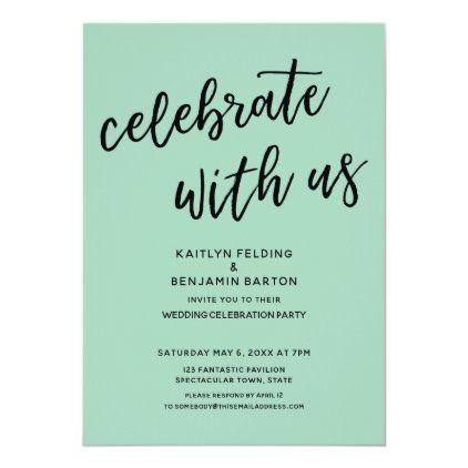 Celebrate With Us Modern Light Green Wedding Party Invitation Zazzle Com Wedding Party Invites Reception Invitations Wedding Celebrations Party