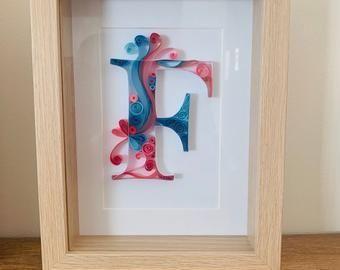 Letter S Quilling Wall Paper Art Custom Framed Monogram Etsy In 2020 Paper Art Quilling Quilling Letters