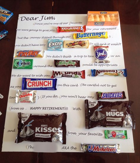Retirement gift for a friend. *NOTE: original idea found on Pinterest, but I tweaked the wording and candy for my own gift