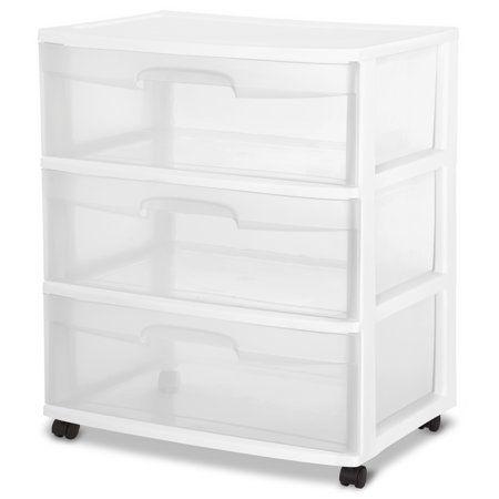 Sterilite 3 Drawer Wide Cart White In 2020 Storage Drawers Drawers Drawer Cart