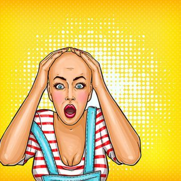 Vector Pop Art Shocked Girl After Chemotherapy Or Bad Haircut B Woman Pop Illustration Png And Vector With Transparent Background For Free Download Vector Pop Pop Art Pop Illustration