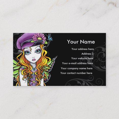 Sunny Butterfly Rainbow Fairy Business Card Zazzle Com Order Business Cards Printing Business Cards Rainbow Fairies