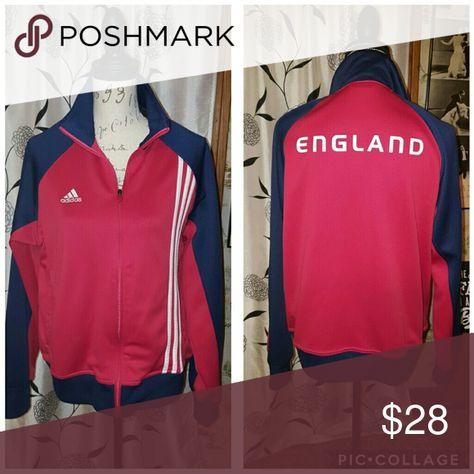 e0e6d38cb94 MENS adidas futbol ENGLAND jacket full zippered. like new.! navy and red  soccer size medium adidas Jackets   Coats Performance Jackets
