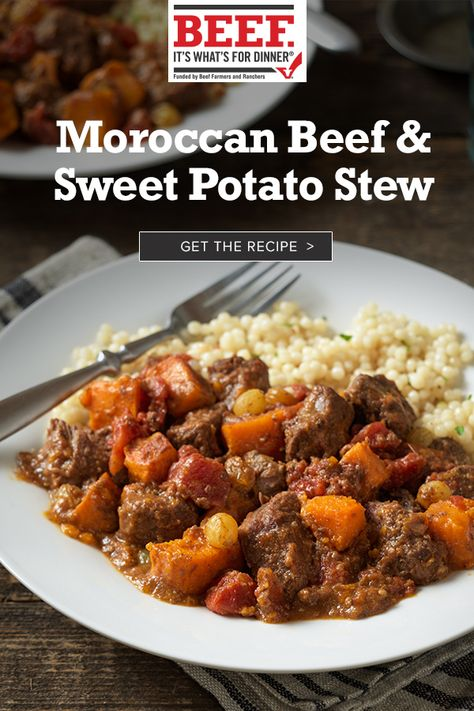 Use your slow-cooker to develop sweet and savory flavors in this Moroccan Beef Stew. It's the perfect blend of adventure and comfort. Meat Recipes, Slow Cooker Recipes, Dinner Recipes, Cooking Recipes, Recipies, Moroccan Beef Stew, Paella, Stewed Potatoes, Brunch