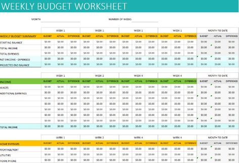 Free Personal Weekly Budget Template Budget Spreadsheet Template