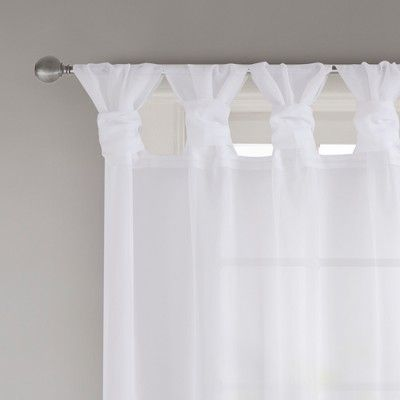 Persis Twisted Tab Voile Sheer Window Pair White 50 X84 In 2020