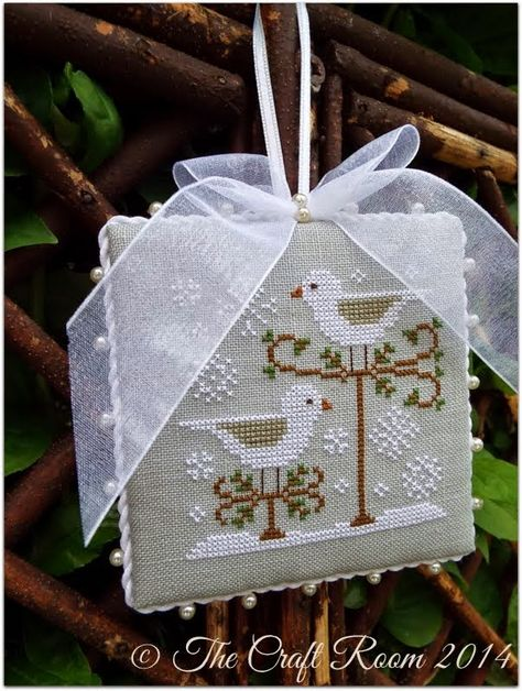 Snow Birds - Country Cottage Needleworks. 40ct Pearl Grey Newcastle Linen. Recommended DMC threads. From Just Cross Stitch Ornament Issue...