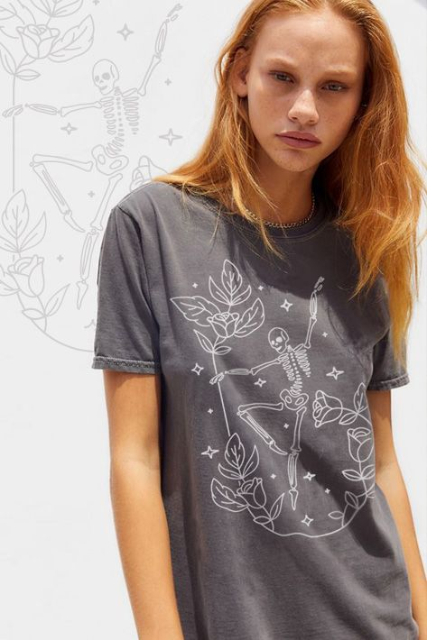 Bones And Roses Dancing Skeleton Tee In 2021 Stylish Summer Outfits Tees For Women Project Social T