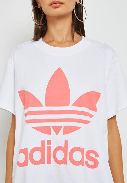 تسوق تيشيرت مزين بخطوط ماركة اديداس ماركة اديداس اوريجينالز لون أبيض في الرياض وجدة Dh4429 T Shirts For Women Women Womens Shorts