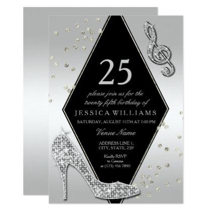 Stylish Glitzy Silver 25th Birthday Invitation Zazzle Com 40th Birthday Cards 21st Birthday Invitations 40th Birthday Invitations