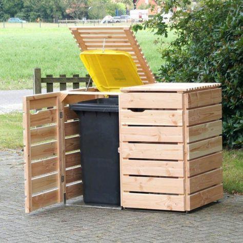 Outdoor Rolling Trash Bin Wood Kitchen Trash Can Outdoor Storage