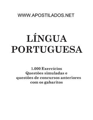 Apostila De Lingua Portuguesa Para Concursos Classes De Palavras