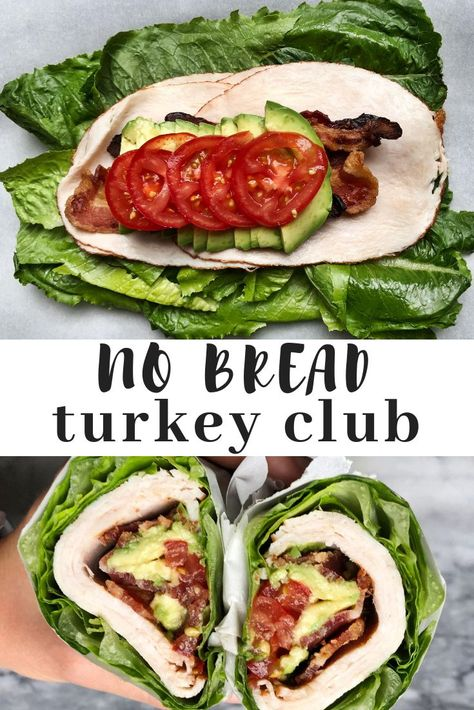 No brad turkey club sandwich wrapped in romaine lettuce. A low carb, paleo and k… No brad turkey club sandwich wrapped in romaine lettuce. A low carb, paleo and keto friendly lunch option. Perfect for lunch meal prep. Low Carb Lunch, Lunch Meal Prep, Healthy Meal Prep, Healthy Snacks, Healthy Eating, Keto Snacks, Carb Free Lunch, Meal Prep Low Carb, Easy Low Carb Meals