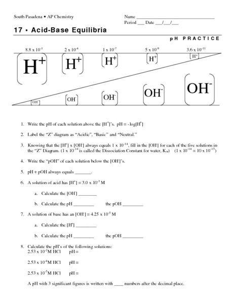 Ph And Poh Worksheet Answer Key - Worksheetpedia