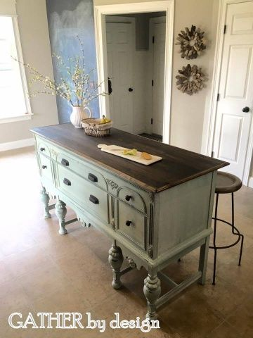 Repurposed Kitchen Island Repurposed Buffet, Sideboard, Credenza, Unique  Kitchen Island, Turquoise Paint, Farmhouse Kitchen, Cottage Kitchen, Tranu2026