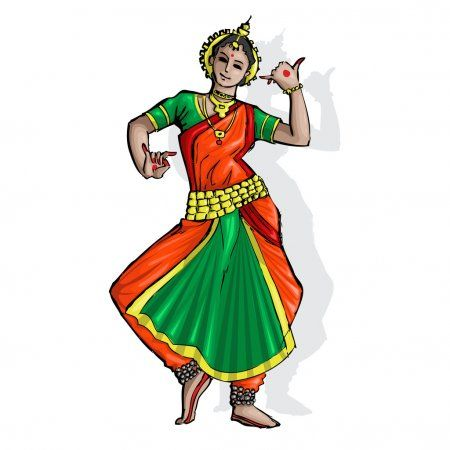 Indian Classical Dancer Stock Illustration In 2020 Indian Classical Dancer Indian Classical Dance Dancing Drawings