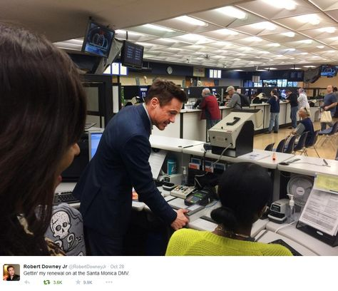 Robert Downey Jr. getting thumbprinted for his driver's license renewal at the Santa Monica DMV. (In a tweet that trended internationally on Oct 28, 2014.)