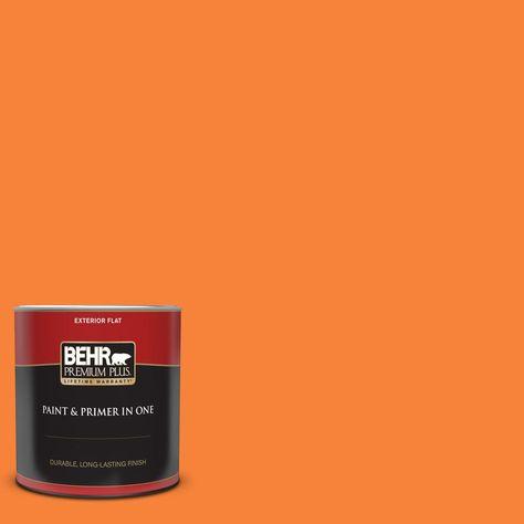 Behr Premium Plus 1 Qt 230b 6 Orange Burst Flat Exterior Paint And Primer In One Behr Premium Plus Exterior Paint Behr