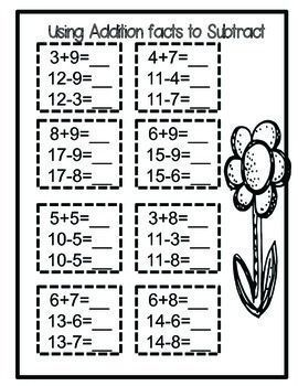 Addition And Subtraction Within 20 Math Fact Worksheets Math Facts Addition Subtraction