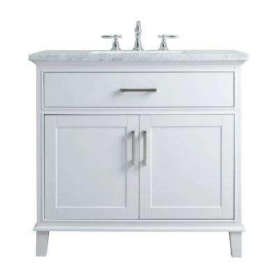 36 In Leigh Single Sink Bathroom Vanity In White With Carrara Marble Vanity Top In Whi Single Sink Bathroom Vanity Single Bathroom Vanity Bathroom Sink Vanity