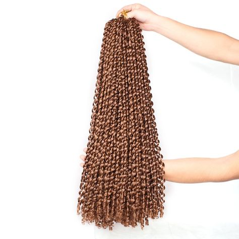 24Inch Water Wave Passion Twist Hair Crochet Braids Hair Goddess Crochet Synthetic Braided Hair Extensions - 30# / 3Pcs