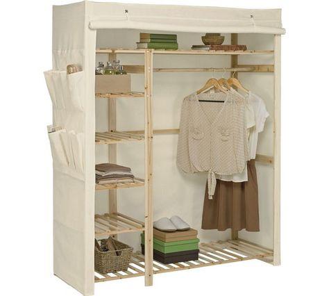 Argos Home Polycotton and Wood Single Wardrobe Cream