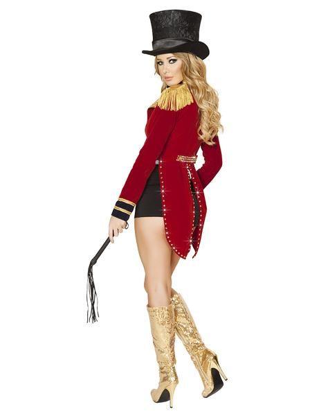 Ringmaster fancy dress costume Circus Lion Tamer Womens Top Shorts Hat Ladies