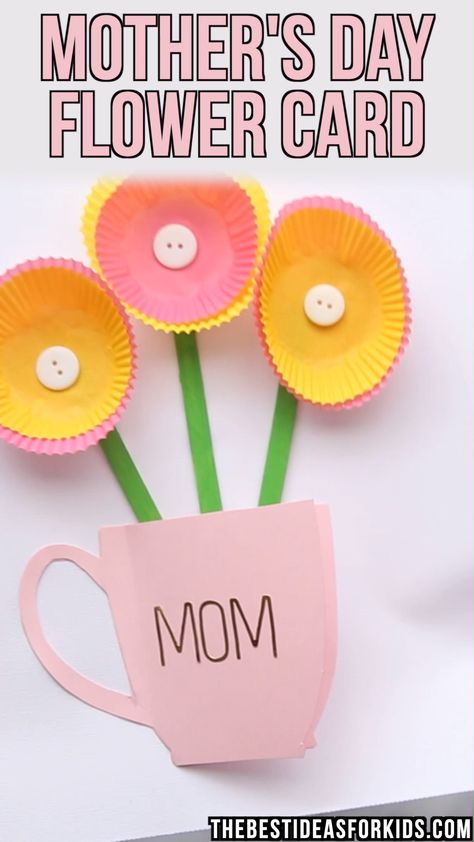 Mother's Day Flower Card - using cupcake liners to make the flowers! Head to the post to get the coffee cup template to use. Such a sweet and easy handmade Mother's day card! #bestideasforkids