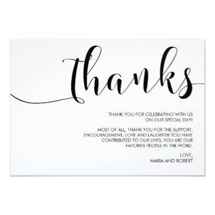 Simple Minimalist Calligraphy Wedding Thank You Card