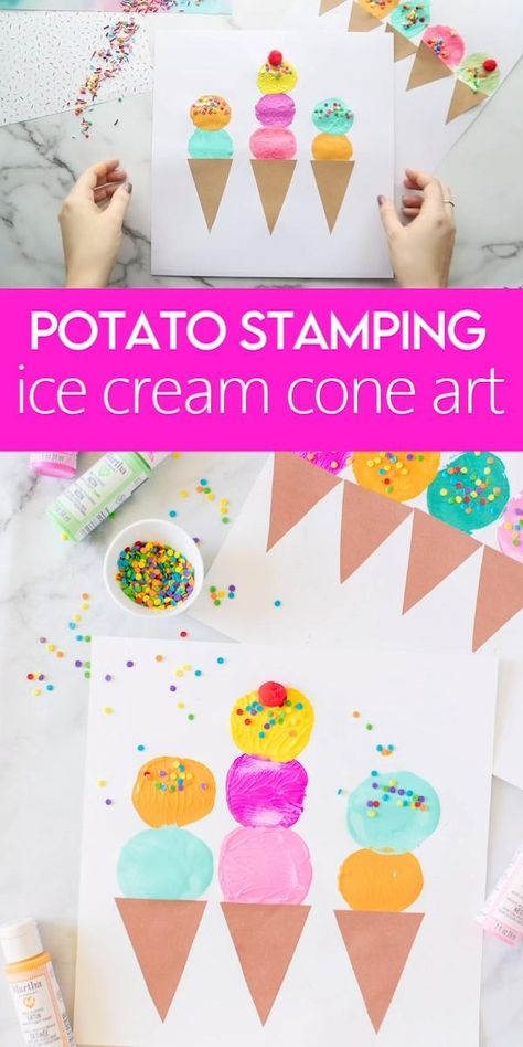 Potato Stamping Ice Cream Cone Art