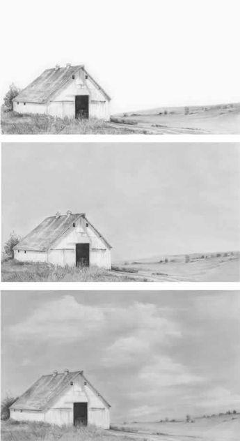 Steps For Portrait Drawing With Charcoal Landscape Drawings Landscape Drawing Tutorial Cloud Drawing