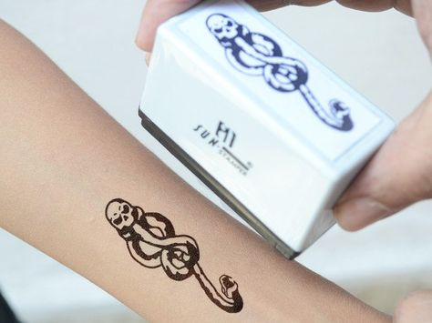 Death Eater Harry Potter Self-Inking Stamp (Temporary Reusable Tattoo)  I know it's not a real tattoo, but it is amazing! -Lily