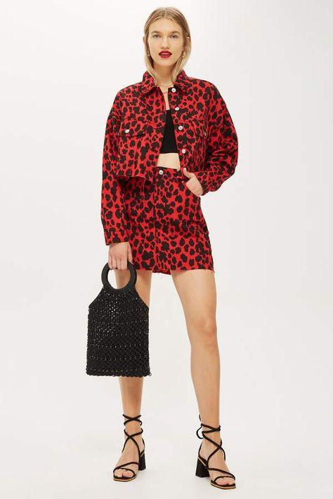 Buy TOPSHOP Red Leopard Denim Skirt
