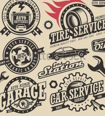 Car Service Symbols Auto And Engine Parts Retro Vector Car Icons Collection Vintage Style Labels And Badges Set Logo Desi In 2020 Car Icons Auto Repair Garage Logo