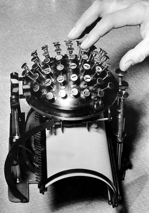 A wartime typewriter inventor. A typewriter designed to conserve the metal needed for the war effort during World War II, c.