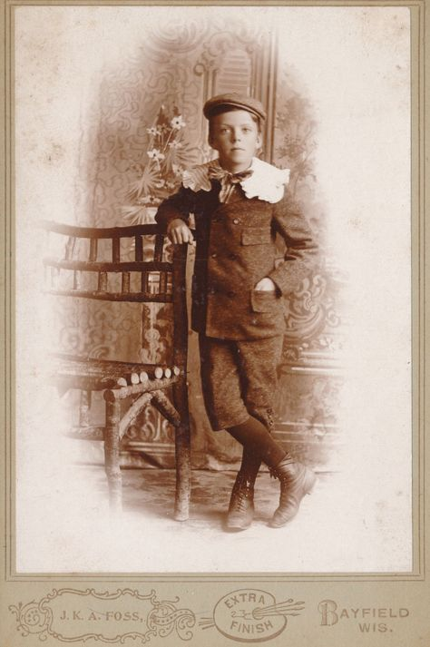 c1880-1889 Young Lad, Short Pants, Lace Collar Bayfield WI Foss Cabinet Photo