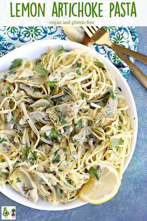 Lemon Artichoke Pasta Vegan