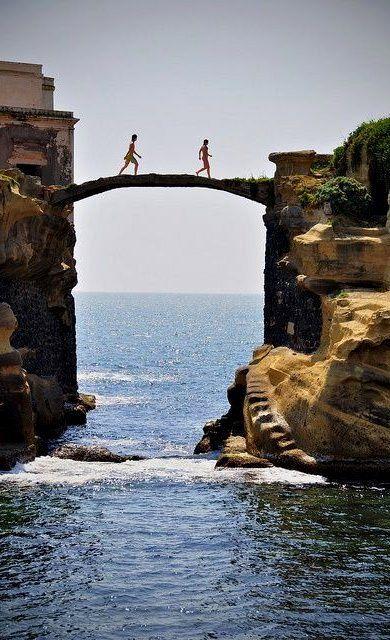Gaiola Bridge, Naples, Italy.