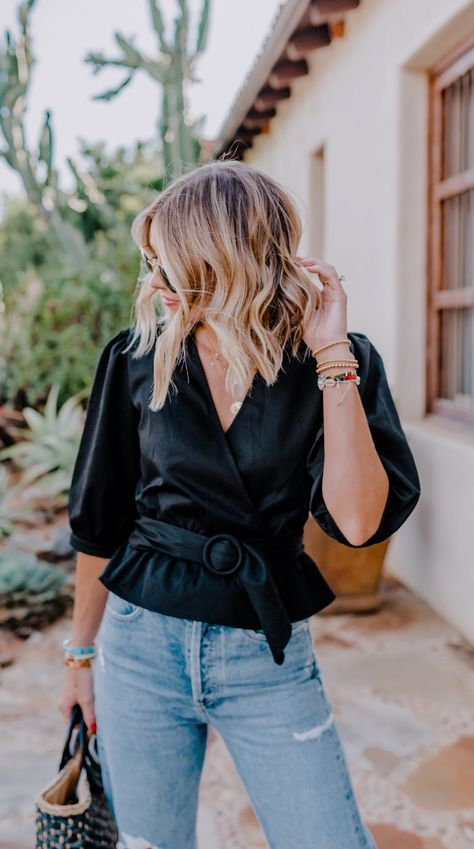 Black puff sleeve belted top + jeans