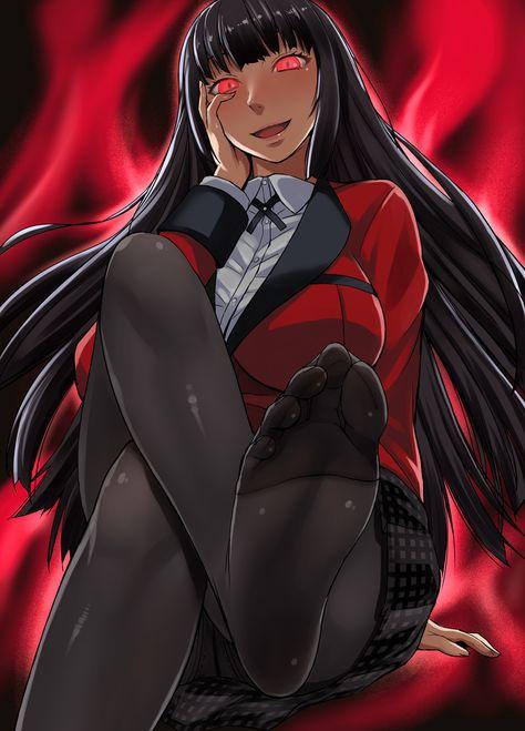 Yumeko jabami is the main protagonist of kakegurui anime and manga. 1girl black_hair breasts feet glowing glowing_eyes highres ...